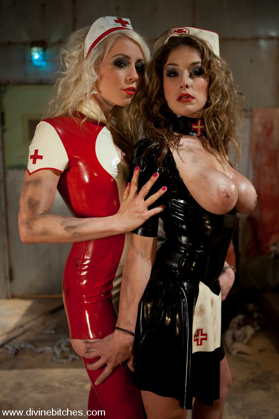 Lorelei Lee and Felony as a pair of evil latex-clad nurses; Bdsm