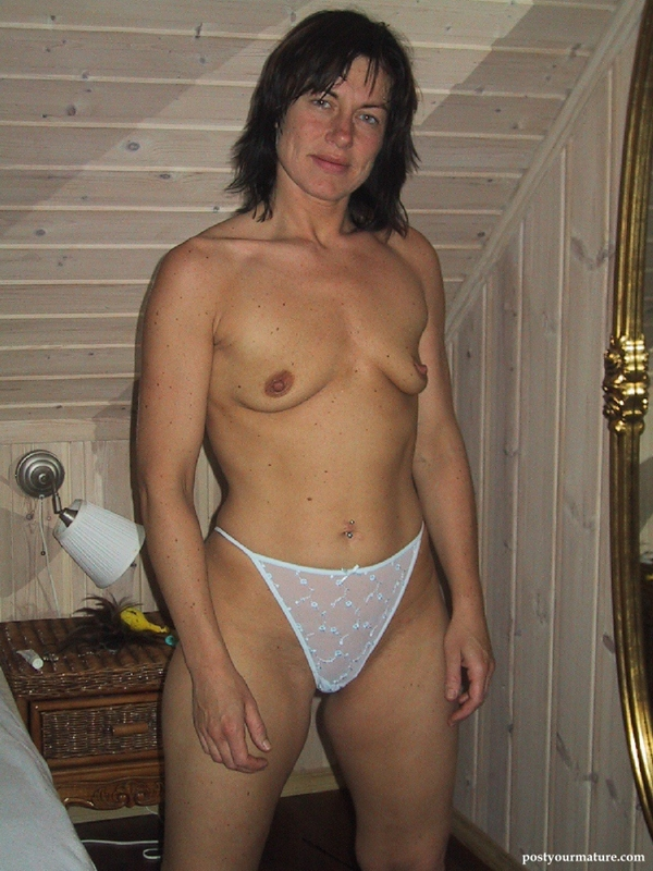 Mature woman with small saggy tits