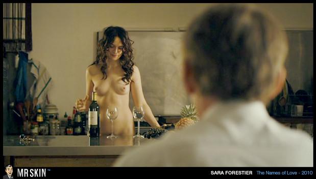 Sara Forestier pours wine nude; Celebrity