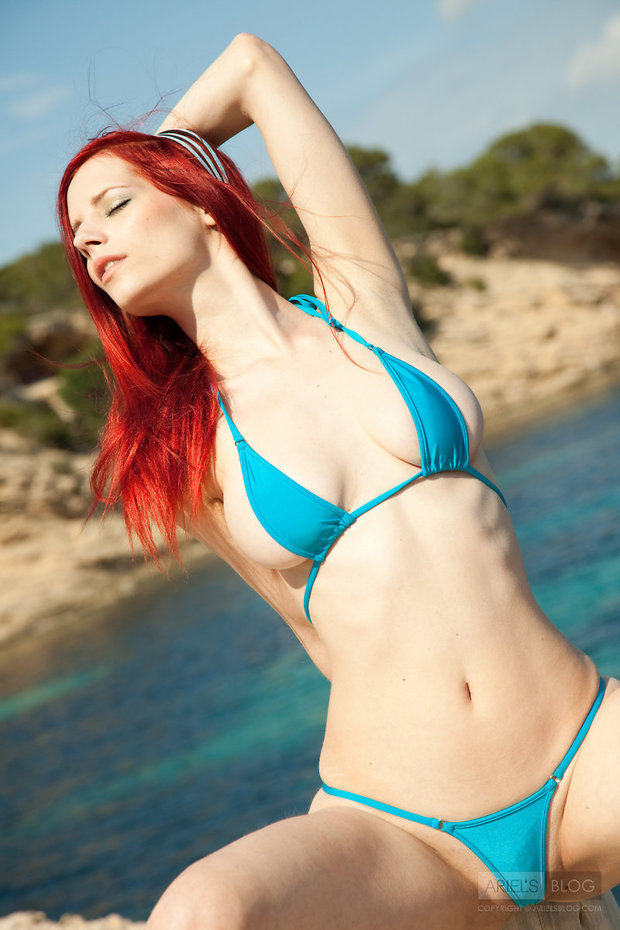 Ariel blue bikini; Hot Non Nude Red Head