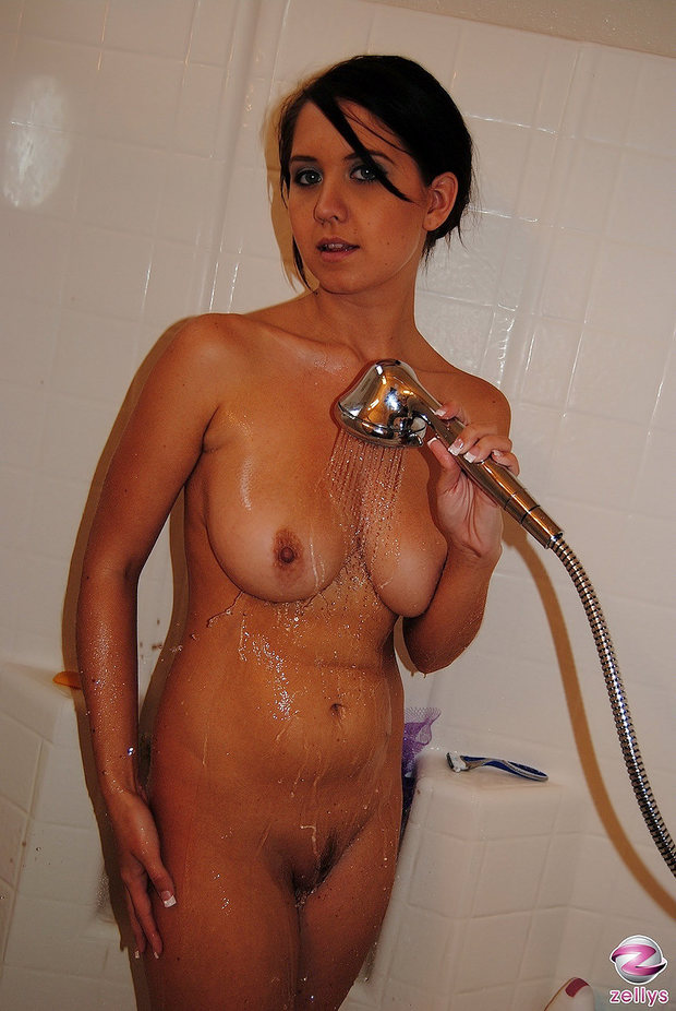 big shower tits with Brunette