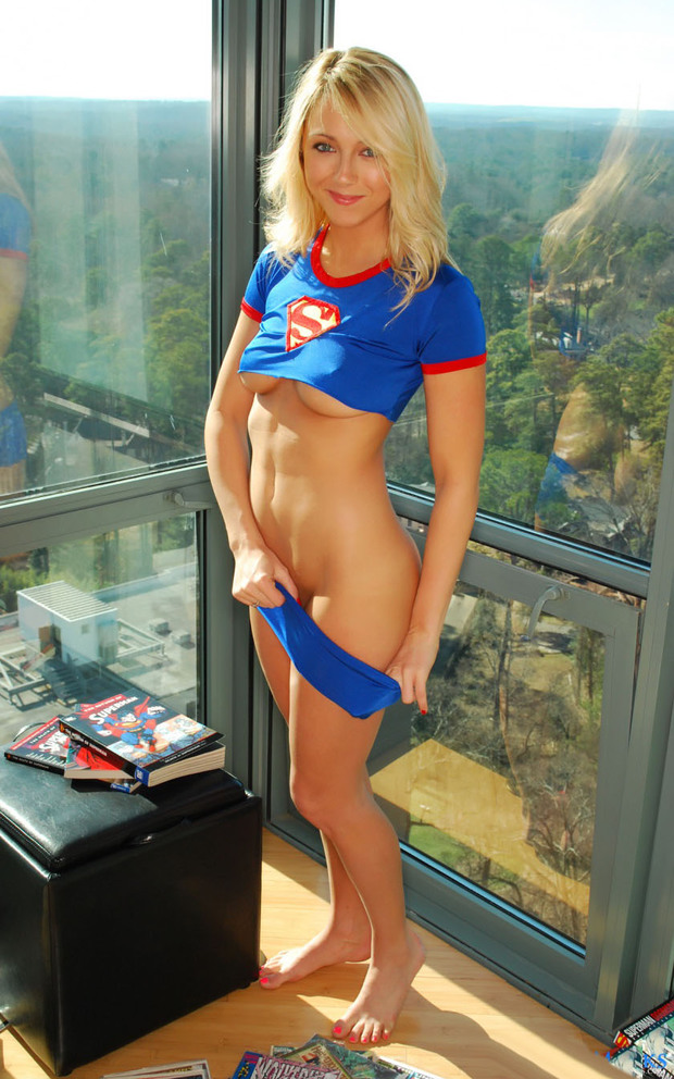 ...; Amateur Babe Big Tits Blonde Lingerie Stripping Supergirl Uniform